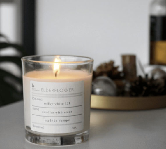 Broste Copenhagen milky white 121 candles with scent, West Malling