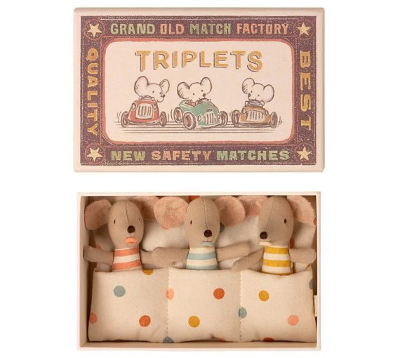 Maileg Triplets, Baby Mice in Matchbox, Kent