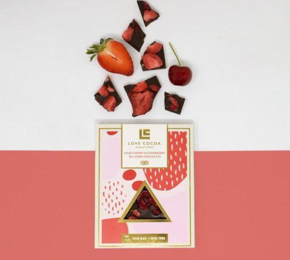 Love Cocoa Sour Cherry & Strawberry 70% Dark Chocolate