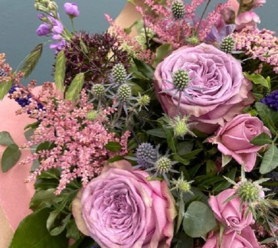 Seraphina bouquet, purples, delivery, Kent